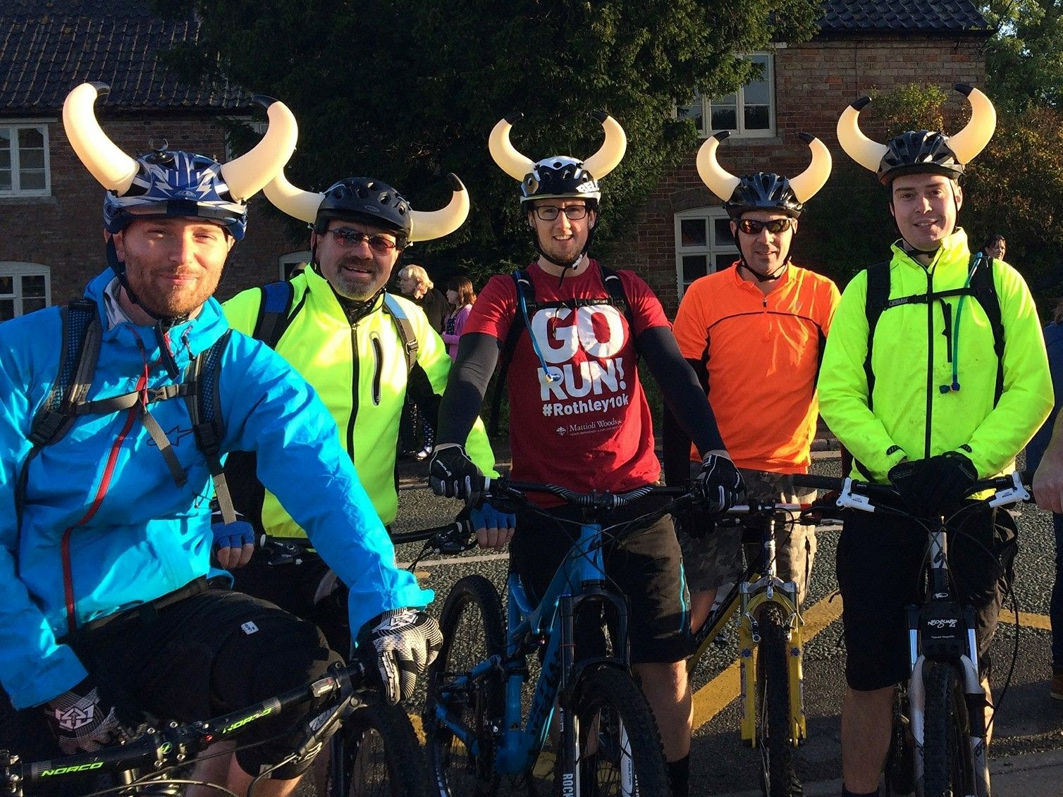 Group of cyclists ready to start